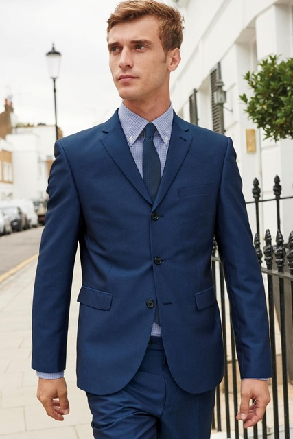 913e48bfb70fe 2015 Navy Tailored Wool Suit for Men Single Breasted Slim Fit Casual Style  Mx012b042 jacket + pant ) M-suit