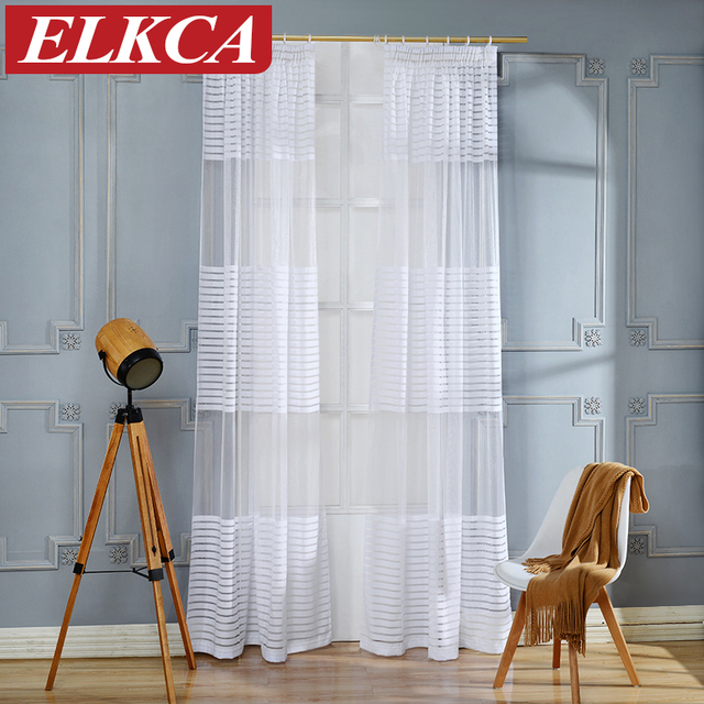 Horizontal Striped Curtains Tulle For Living Room Window The Bedroom Modern
