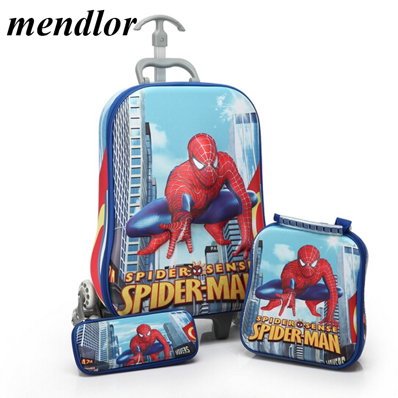 Marque Chaude 3 pcs/ensemble enfants anime bagages de voyage spiderman 3D stéréo Pull rod cartable de bande dessinée crayon pour enfant boîte enfants valise