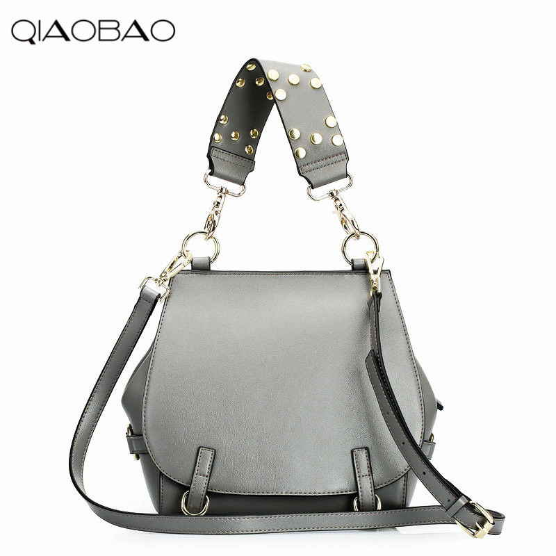 QIAOBAO Wholesale Summer Cowhide leather handbags fashion wild rivet package fashion shoulder genuine leather bag Messenger bag qiaobao genuine leather handbags summer multi purpose ladies cowhide messenger round double shoulder bag