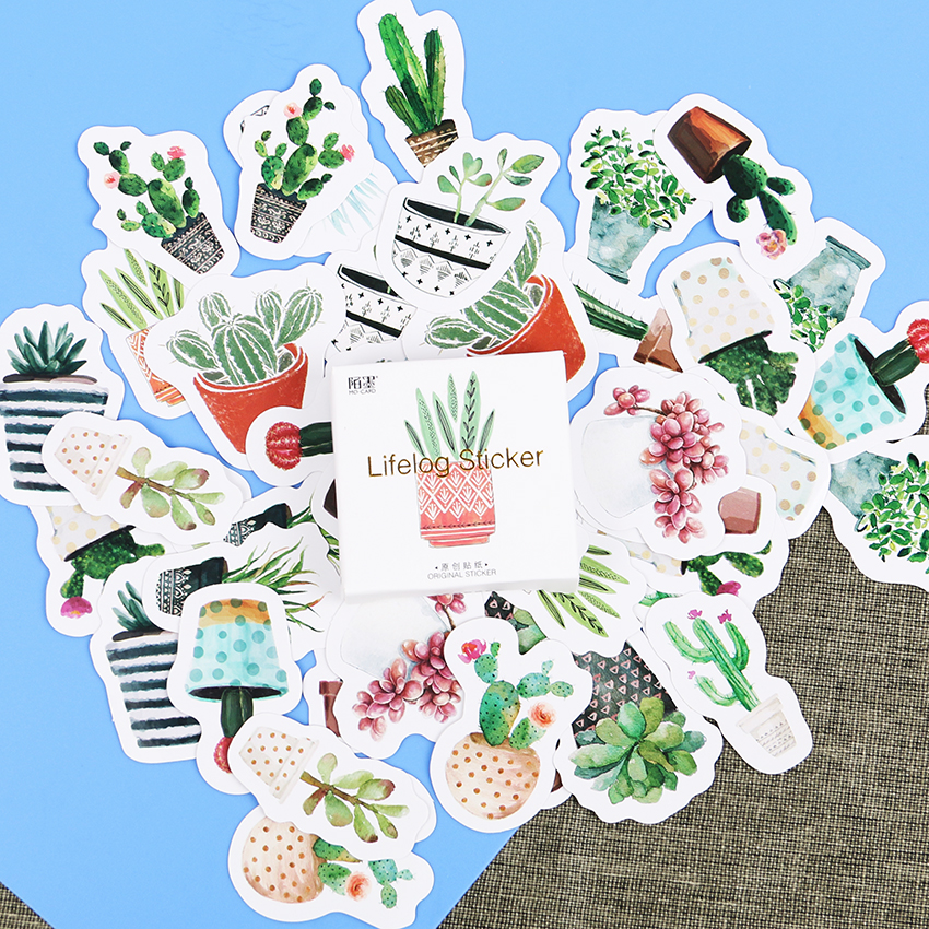 135PCS/3sets Cactus Plants Pattern DIY Scrapbook Paper Label Stickers Crafts Decorative Cute Sticker Stationery
