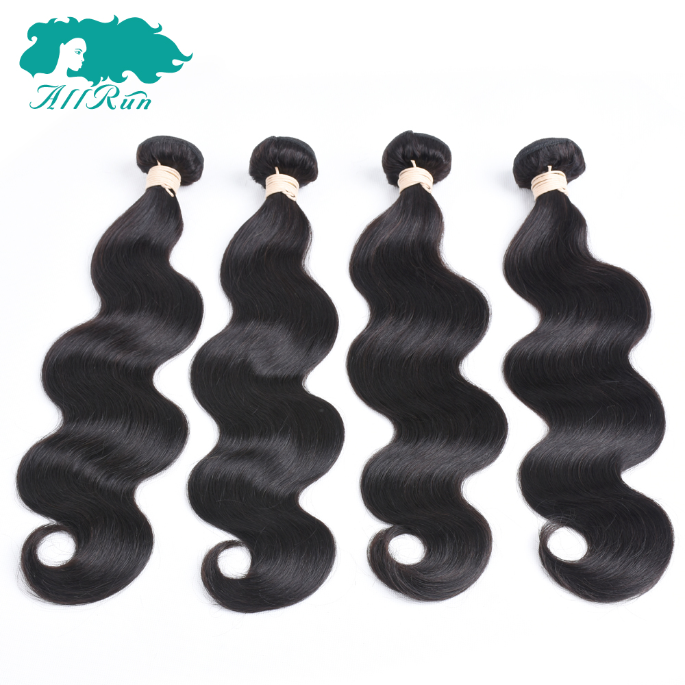 Allrun Pre-Colored 4 Bundles Indian Body Wave Hair 100% Human Hair Clip in Extensions Weaves Bundles Free Shipping