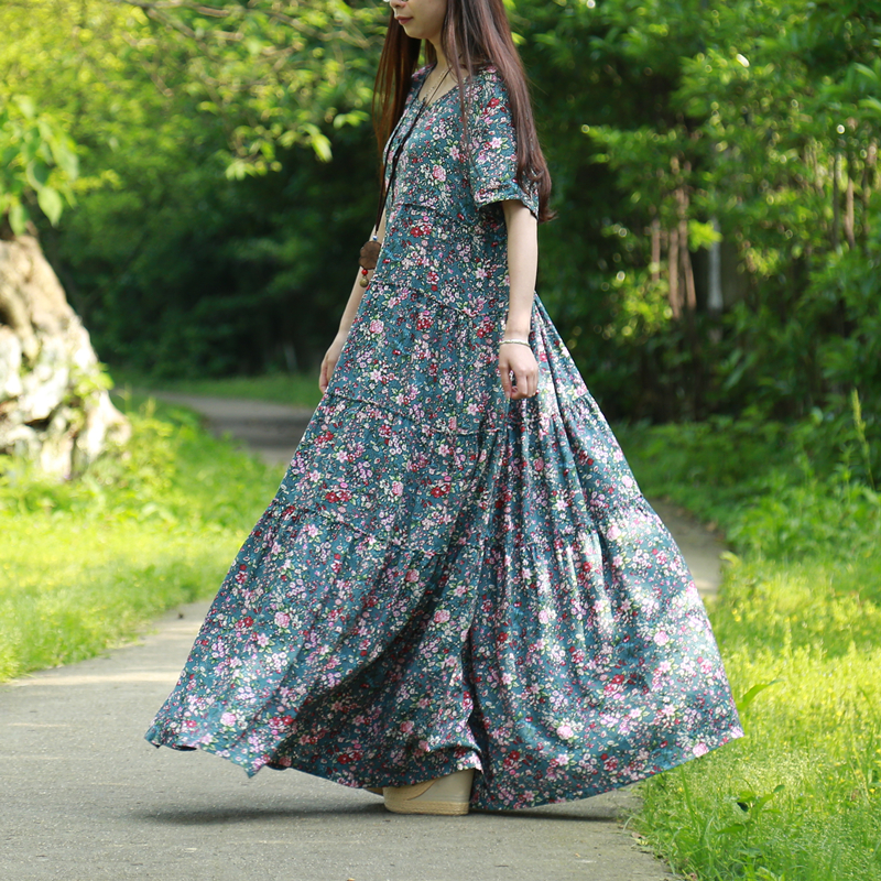 LZJN Summer Beach Dress 2019 Small Flower Maxi Shirt Dress for Women Ethnic Robe Femme Wood Button Patchwork Long Bohemian Dress