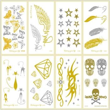 Rocooart, tatuaje temporal dorado pequeño, plumas metálicas, tatuaje falso de diamante, calaveras plateadas, calcomanías para tatuaje corporal