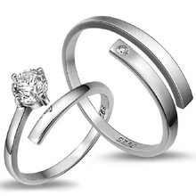 100% 925 sterling silver fashion shiny crystal lovers`couple rings jewelry women men`s finger open ring wedding gift cheap недорого