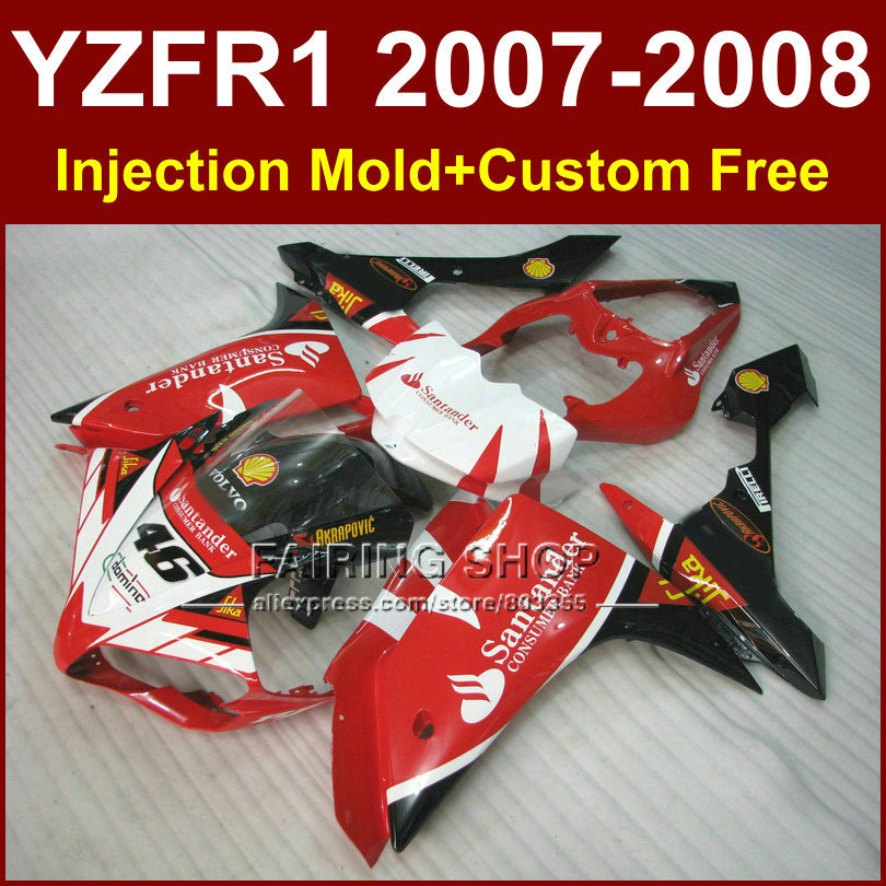 Santander red 46 motorcycle fairings for YAMAHA YZFR1 2007 2008 Injection bodywork YZF R1 YZF1000 YZF 1000 07 08 body parts R1 motorcycle engine stator crank case generator cover crankcase for yamaha yzf r1 2004 2005 2006 2007 2008 yzfr1 yzf r1 04 08