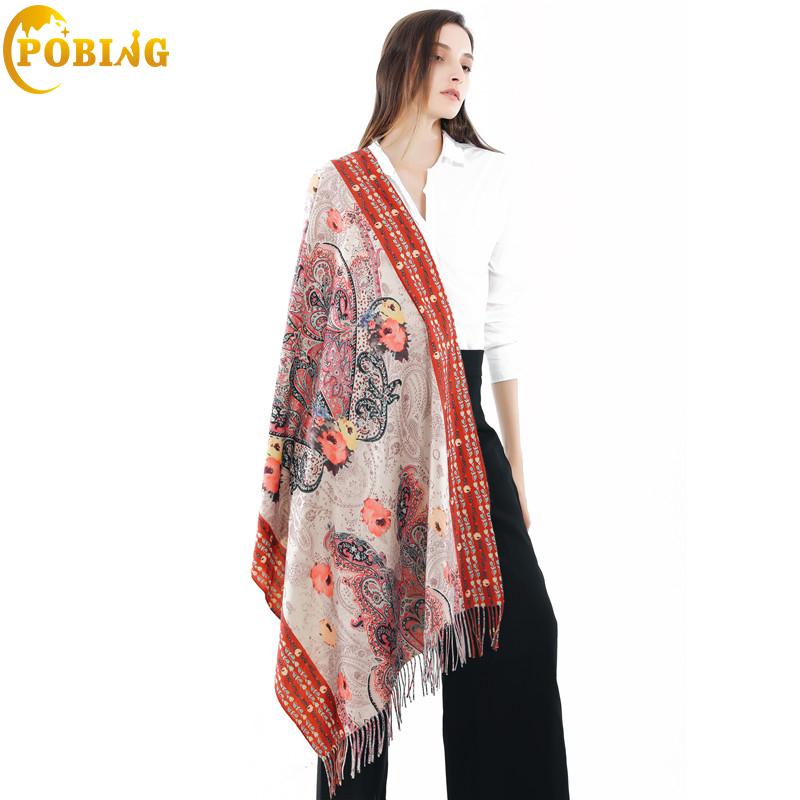 POBING 2018 New Winter   Scarf   Women British Floral   Scarves     Wraps   Soft Warm Cashmere Shawl Tassel Pashmina Lady Blanket Stoles