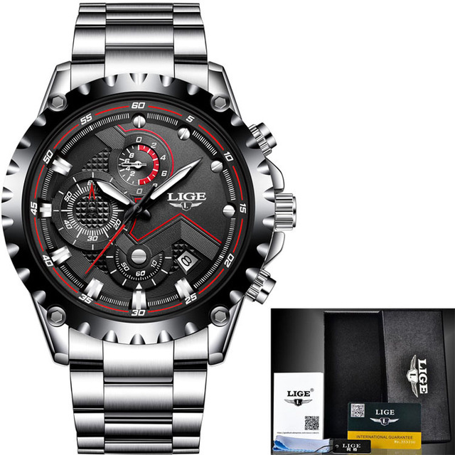 LIGE 2020 Mens Watches Top Brand Fashion Full Steel Waterproof Quartz Watch Man Army Military Sport Wristwatch Relogio Masculino