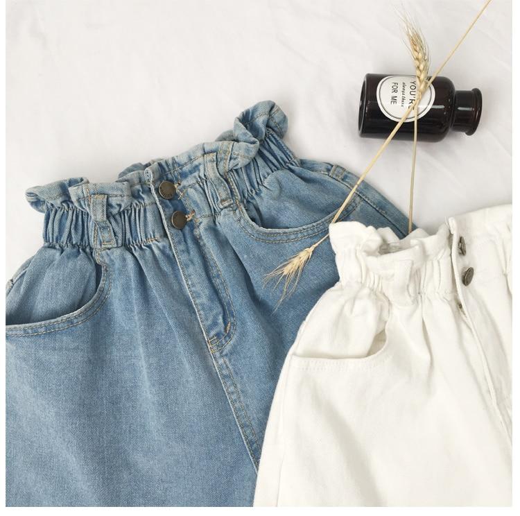 Roll Up Hem Elastic Waist Pocket Blue White Jeans Female 26