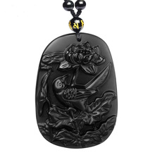 Drop Shipping Natural Black Obsidian Pendant Hand Carved Obsidian Oriole Necklace For Men Women With Chain Gift drop shipping natural black obsidian gossip necklace pendant men and women obsidian necklace chain pendant jewelry wholesale