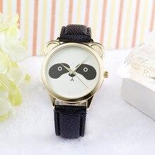 Симпатичные панды циферблат из искусственной кожи кварцевые часы для девочек и мальчиков часы детские часы relogios Баян коль saati Для женщин наручные часы
