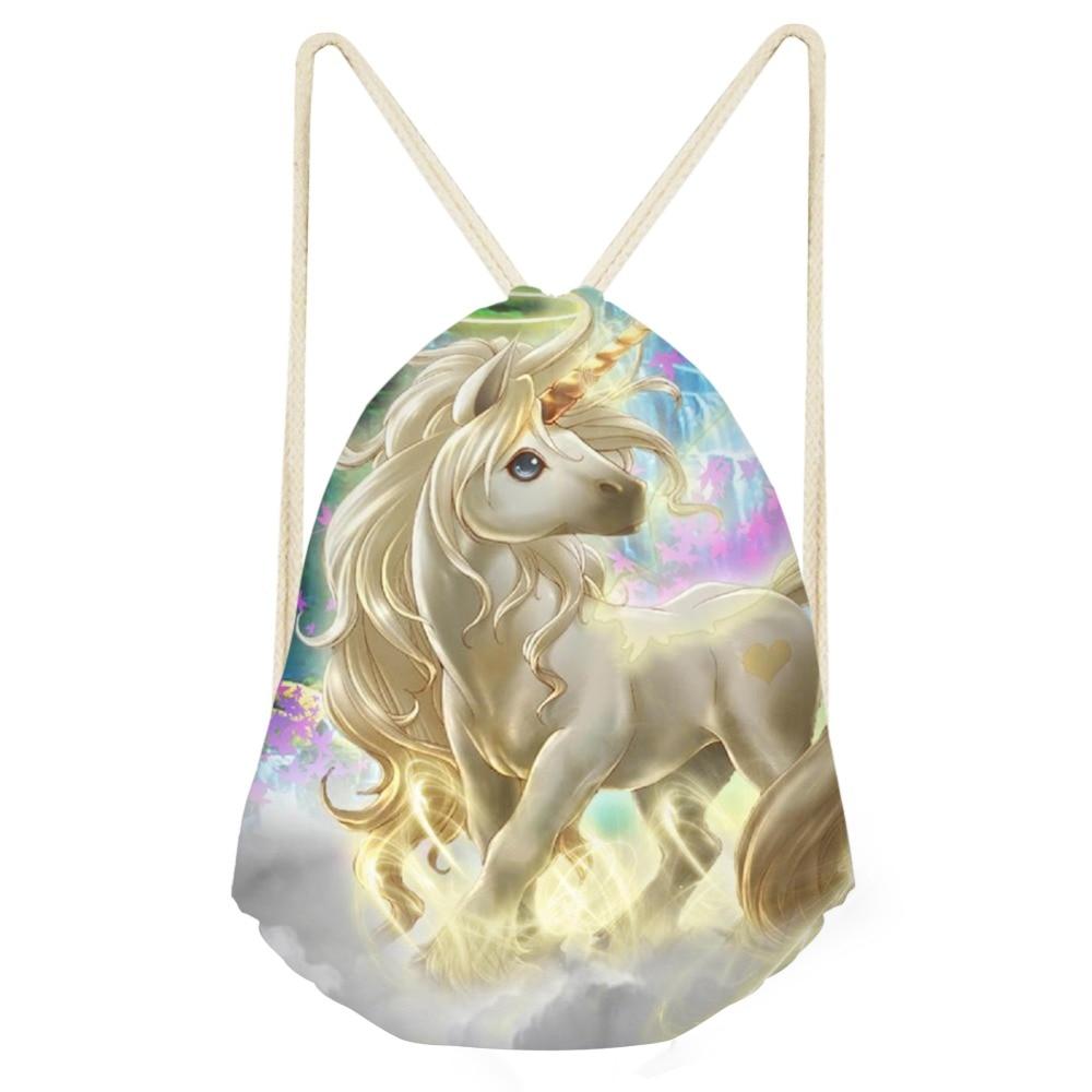 Women Fashion Drawstring Bag 3D New Cartoon Printing Horse Small Travel Softback Female Girls Boys Causal Backpack Men Backpacks