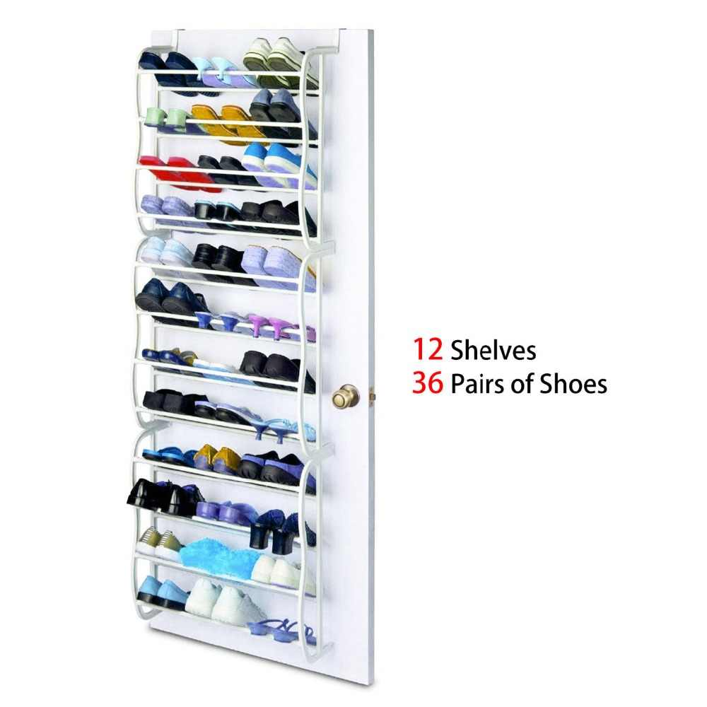 4 Layers 12 Pairs of Shoe Rack PP plastic Spray Iron Over the Door Hanging Shoes Organizer Storage Holder Closet box stretcher