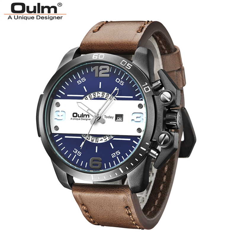 Oulm Brand Men Genuine Leather Band Quartz Watch Luxury Waterproof Big Dial Fashion Wristwatch With Calendar Free Shipping clot big dial quartz watch with leather band for men