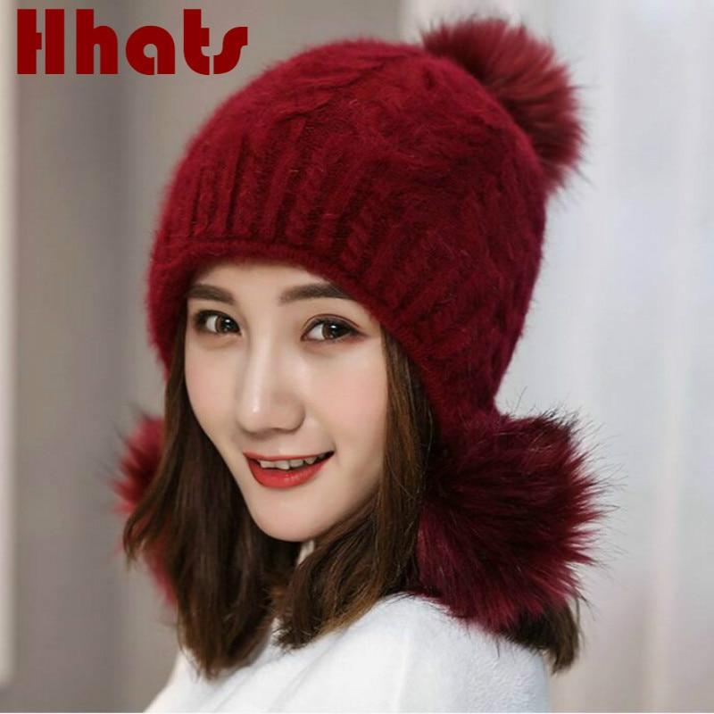 fashion women rabbit fur hat with three faux fox fur pompom solid winter outdoor warm fur female cap fur pom pom skullies beanie