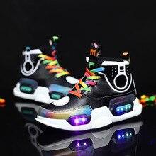 Детская обувь с зарядкой от USB, цветной светодиодный светильник, сетчатые светящиеся кроссовки для девочек, светящиеся кроссовки для мальчиков, детская обувь