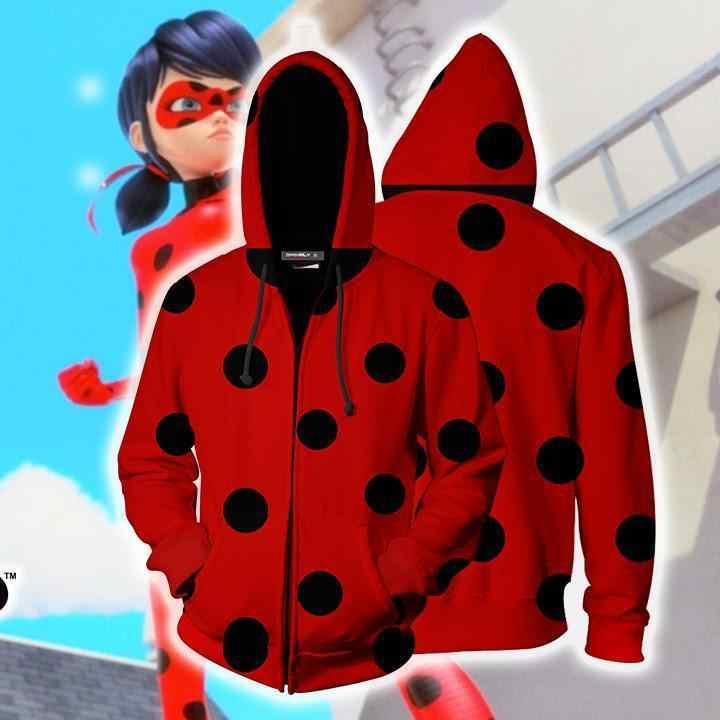 Anime mariquita gato negro Cosplay disfraces mariquita sudaderas chaquetas 3D impreso sudaderas con capucha y cremallera chica mujer suéter