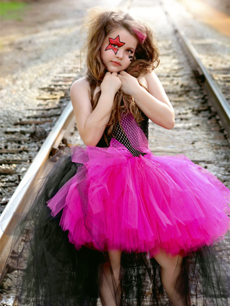 Halloween girls cosplay dress 2018  summer black/red girls clothes sleeveless party Catwalk School performance tutu dress