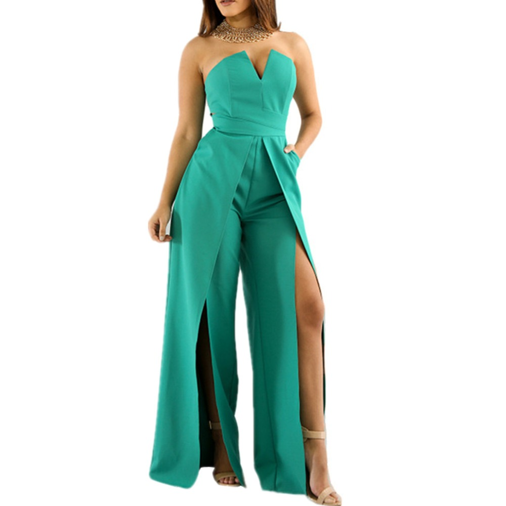 Lisa Colly women sexy jumpsuits 2018 summer fashion club jumpsuits wid leg long pants Casual high waist chiffon trouses