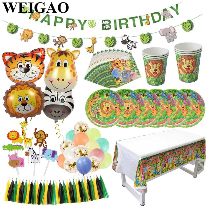 WEIGAO Jungle Party Decoration Lion Tiger Foil Balloons Disposable Tableware Paper Plate Cup Napkin Safari Zoo Party Supplies-in Party DIY Decorations from Home & Garden on Aliexpress.com | Alibaba Group
