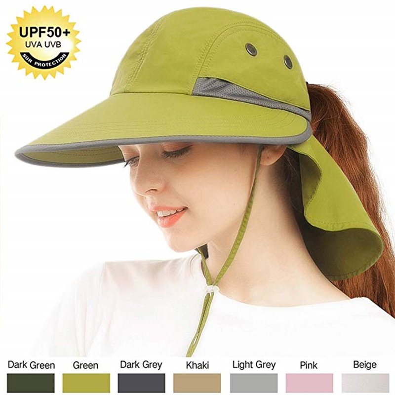 FURTALK Summer Sun Hat Ponytail Safari Hats For Women Wide Brim Fishing Hat With Neck Flap UPF 50+ Sun Protection Cap For Female