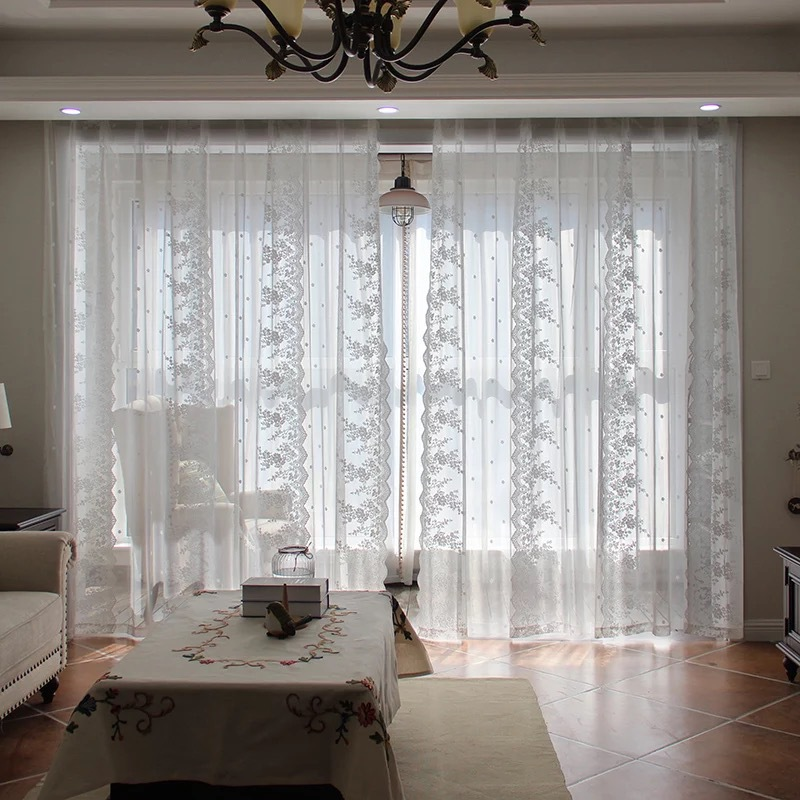 Lace Curtains Kitchen Window Rustic Home Decor White Sheer Curtains Flower Pattern Short Tulle Drapes Single Panels Zh024 30 Curtains Aliexpress