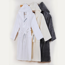 Men s Bathrobe Winter Cotton Hooded Women Robe Male Warm Long Bathrobes  Comfort Gray Bath Robe Kimono Robe Thick Warm Soft 1d304901e