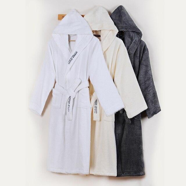 Men s Bathrobe Winter Cotton Hooded Women Robe Male Warm Long Bathrobes  Comfort Gray Bath Robe Kimono Robe Thick Warm Soft 47b433001