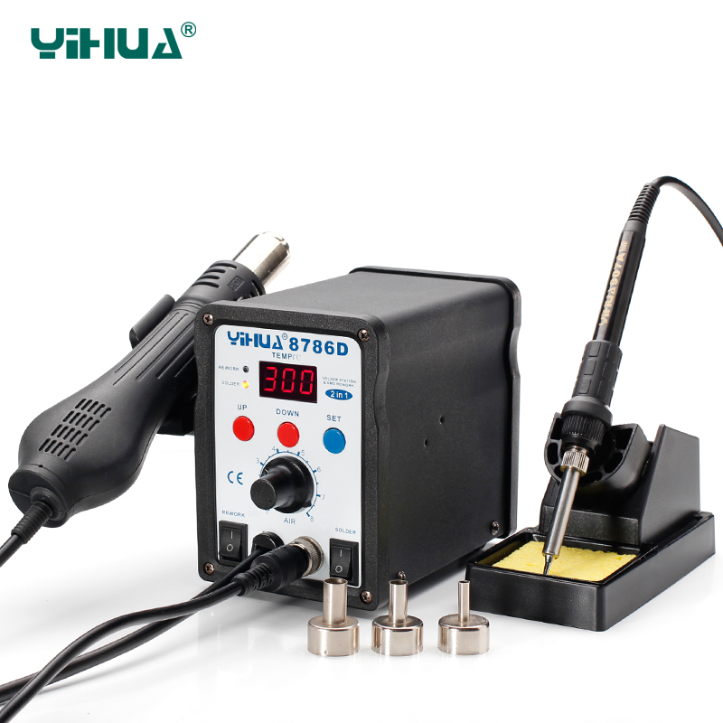 SMD Lead Free YIHUA 8786D Iron Soldering Station 2 In 1 Solder Rework Station Hot Air Gun Solder Station