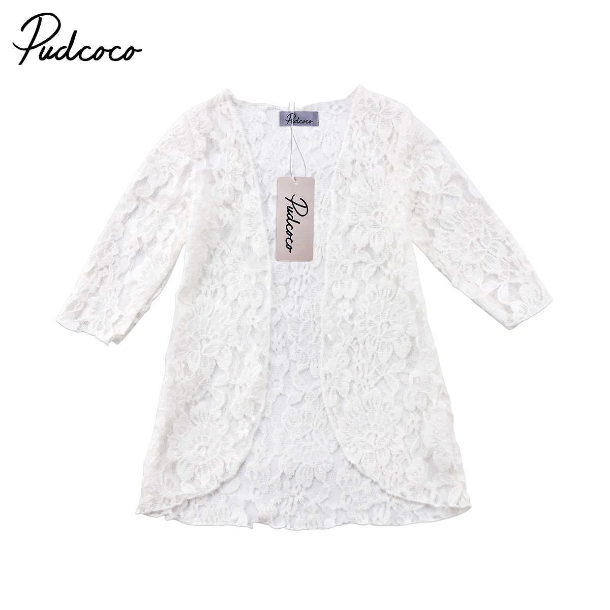 2018 Brand New Toddler Infant Child Kids Baby Girl Lace Floral Sunscreen Beach Dress Rashguard Clothes Cover Outerwear 6M-5T
