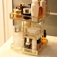 Transparent glass rotating cosmetic storage box desktop retro skin care dressing table lipstick finishing rack