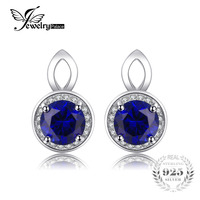 Brand Fashion 2 5ct Blue Sapphire Stud Earrings For Women Real Genuine 925 Sterling Silver Jewelry