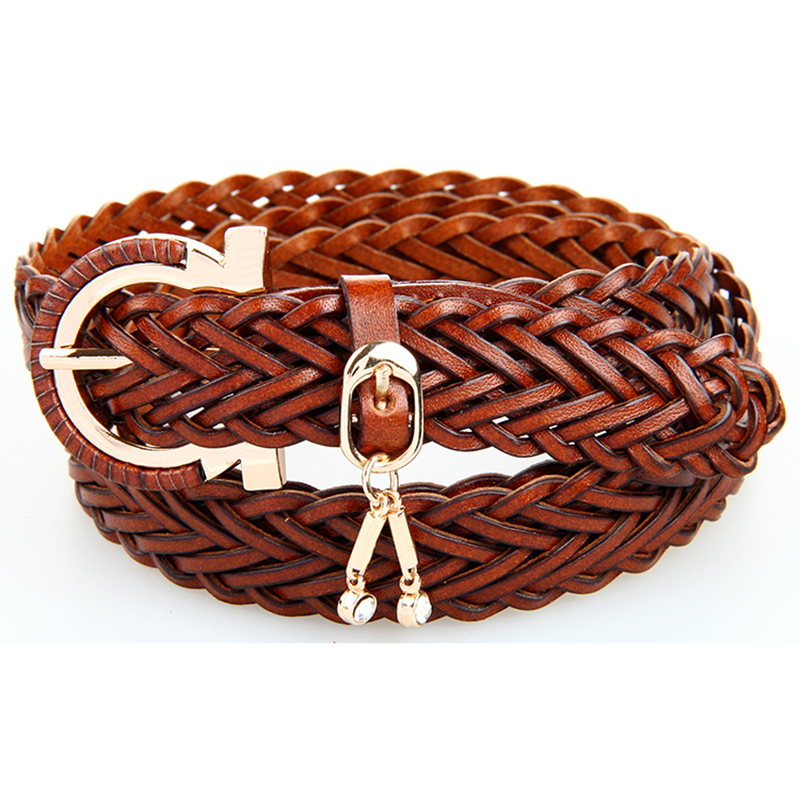 New Fashion Leather Braided Belts Womens Leather Braided Belt Buckle With Diamond Brown Color Free Shipping