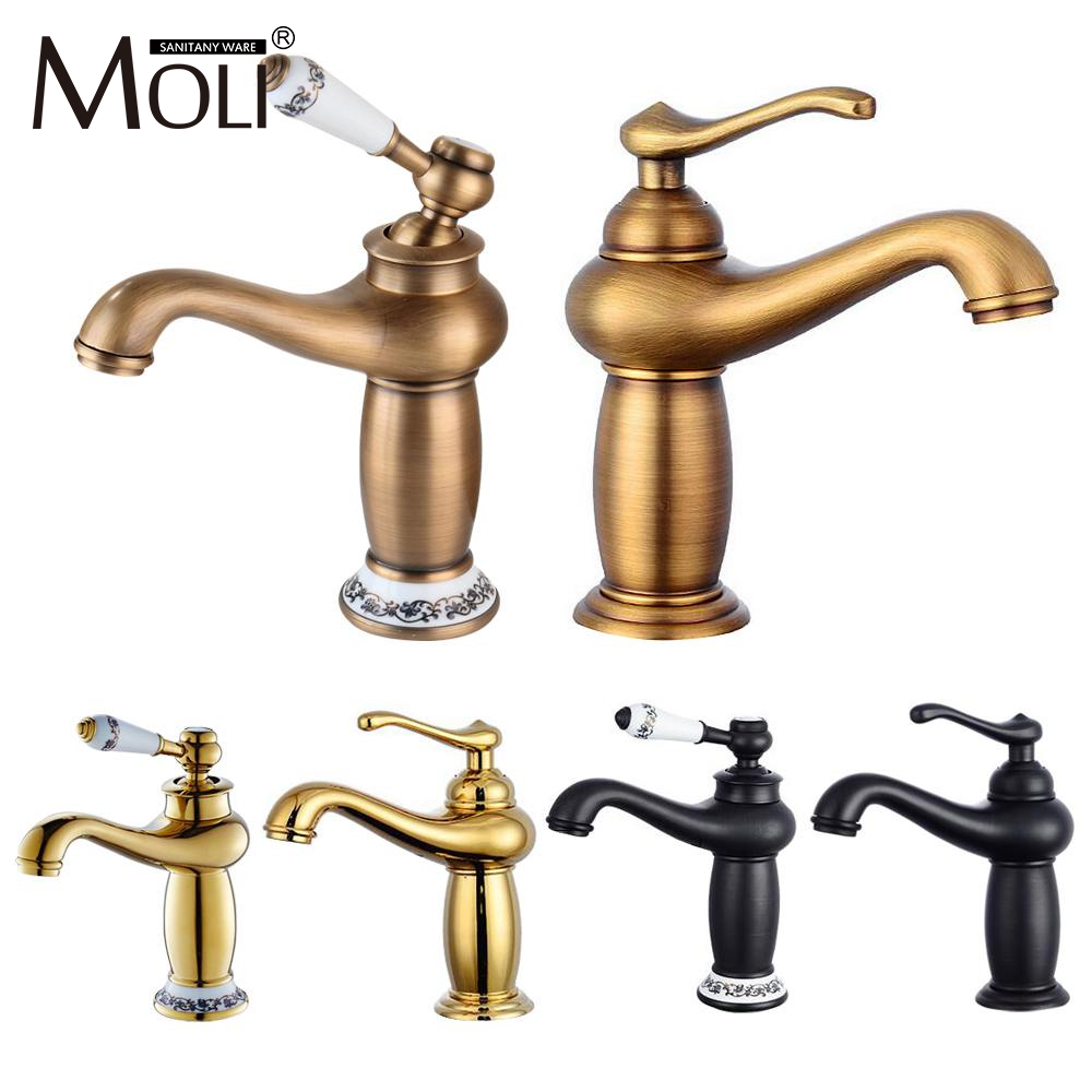 Antique brass basin mixer deck mount golden bathroom faucets single handle single hole cold&hot water tap torneira FCT001Antique brass basin mixer deck mount golden bathroom faucets single handle single hole cold&hot water tap torneira FCT001