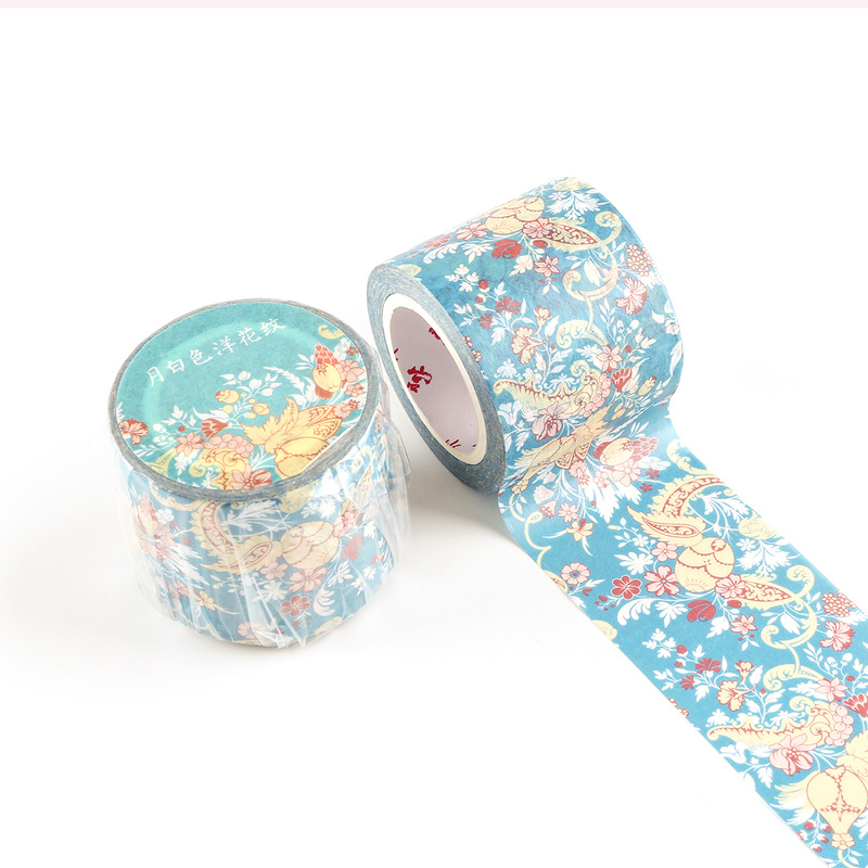 1 Roll Decorative Washi Tape 3.5cm X 10m Blue Background Floral Adhesive Masking Tape for Planner Makeup Gift Box Decoration