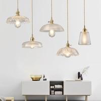 Nordic LED Copper Single Head Pendant Lights Modern Living Room Bedroom Restaurant Cafe Bar Clothing Kitchen Fixtures Lighting