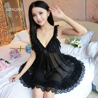 6 colors Lady's diaphanous Sexy Lingerie Silk Lace Dress SM transparent tulle clothing Dress + Sleepwear Underwear pajamas