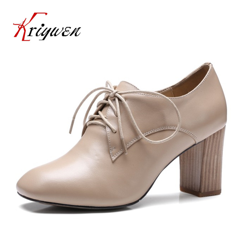 ФОТО New Arrive Spring 2017 cow leather square toe pumps cross tied classics office career sexy lady pumps for female party shoes