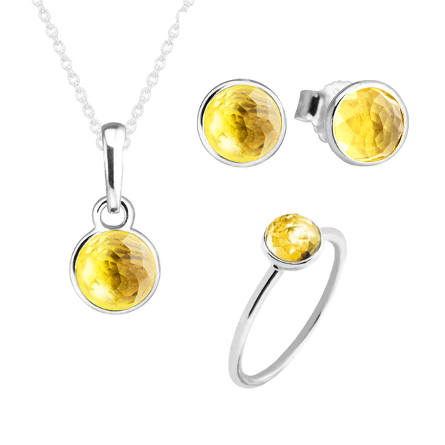 November Droplet Ring Necklace Stud Earrings Jewelry Set 100 925 Sterling Silver Citrine Stone For