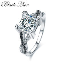 [BLACK AWN] 925 Sterling Silver Fine Jewelry Trendy Engagement Bague Female Wedding Rings Size 6 7 8 C026