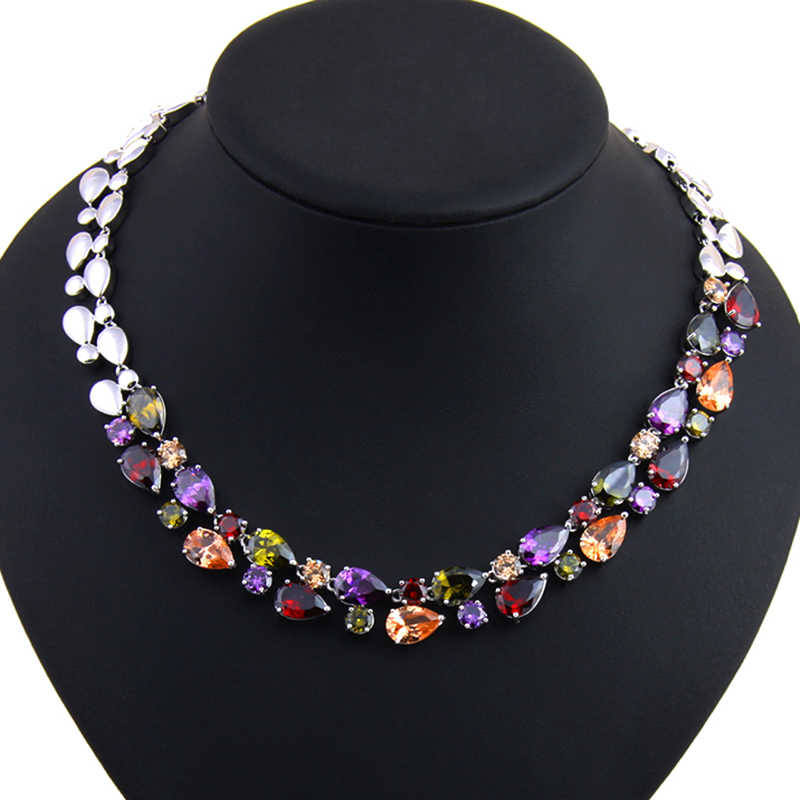 Mona Lisa, ожерелье с голубым камнем, s & Кулоны, многоцветный AAA + кубический цирконий, массивное ожерелье для женщин, для свадебной вечеринки, AN028