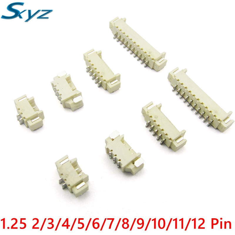 1.25 2/3/4/5/6/7/8/9/10/11/12 Pin 1.25mm Pitch Right Angle SMT SMD Male Pin Header Connector Pin Connectors Adaptor