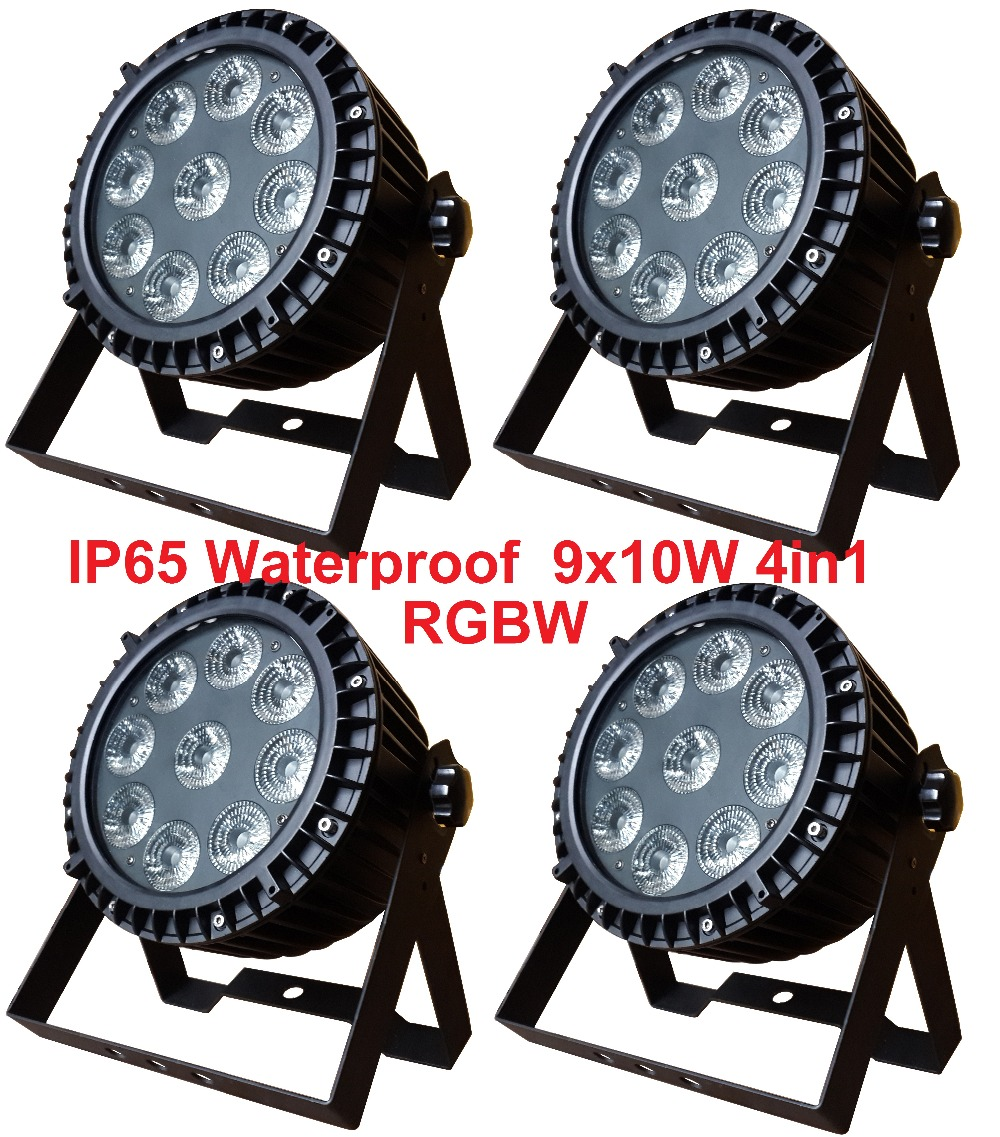 4pcs Free Shipping Led Par Light 9X10W RGBW Quad Color Outdoor Flat Par Can IP65 Waterproof DJ Disco Stage Effect Party Lights4pcs Free Shipping Led Par Light 9X10W RGBW Quad Color Outdoor Flat Par Can IP65 Waterproof DJ Disco Stage Effect Party Lights