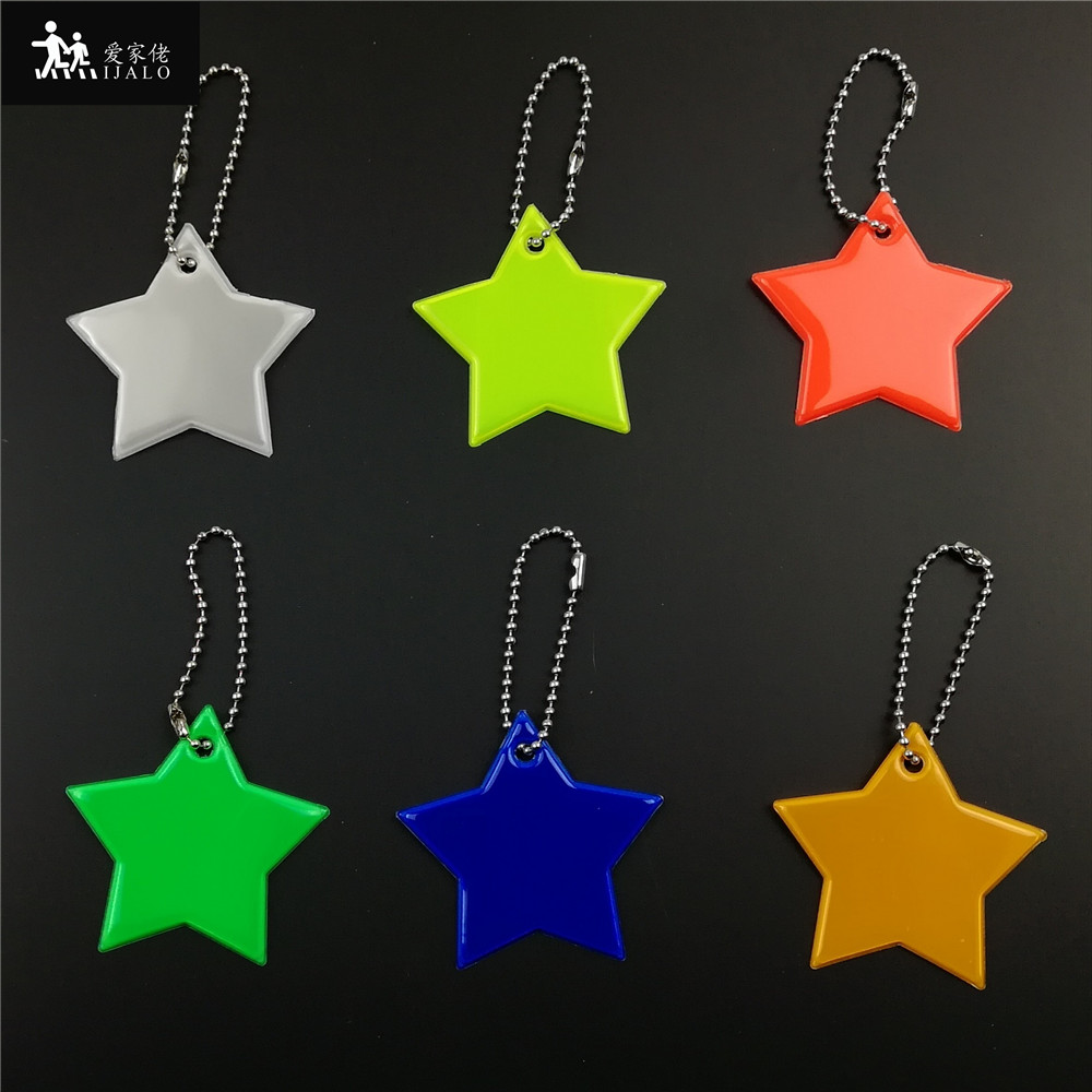 Little Star Soft Pvc Reflector Reflective Keychain Bag Pendant Accessories High Visibility Keyrings For Traffic Safety Use