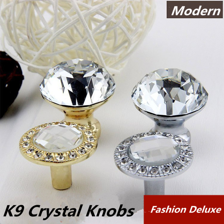modern simple fashion crystal kitchen cabinet cupboard door handles silver golden rhinestone drawer tv cabinet pull knobs chrome css clear crystal glass cabinet drawer door knobs handles 30mm