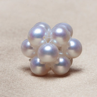 Ball Cluster Cultured Pearl Beads Western Freshwater Pearl Round Natural White 3 5mm Hole Approx 2