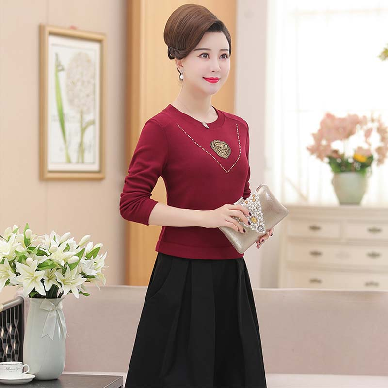 Middle aged female autumn long sleeved dress new wedding mother dress fake two piece