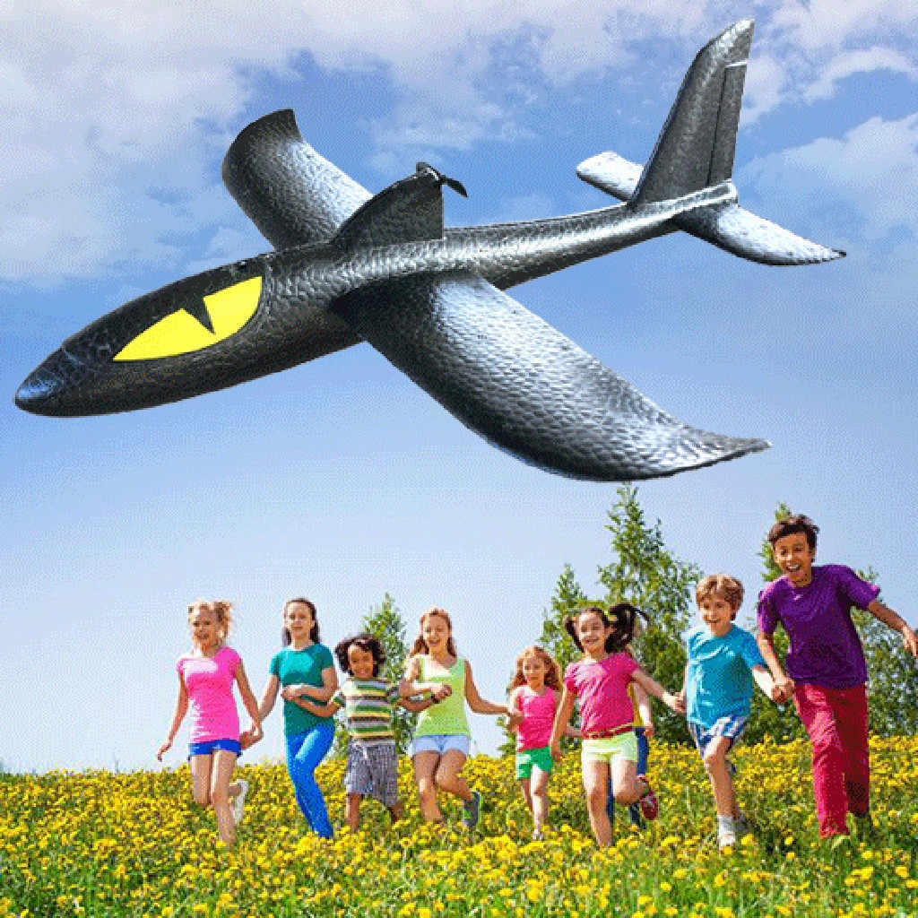 48cm LED light Foam Throwing Glider Airplane Inertia Night Aircraft Toy Hand Launch Mini Airplane Toys For Kid baby gifts 6.5