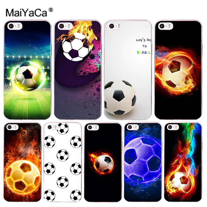 MaiYaCa Fire Football Soccer Ball Coque Shell Phone Case for Apple iPhone 8 7 6 6S Plus X 5 5S SE 5C Cover