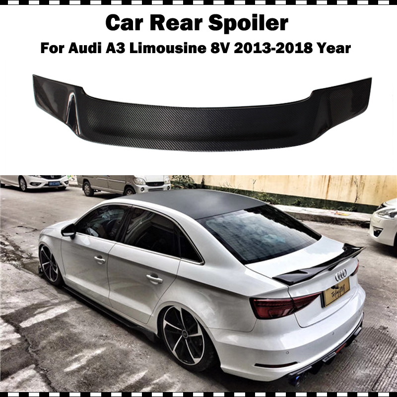 Renntech Style Carbon fiber Rear Trunk Spoiler for Audi A3 limousine 2014 2015 2016 2017 2018 S3 8V R styling rear wing spoiler